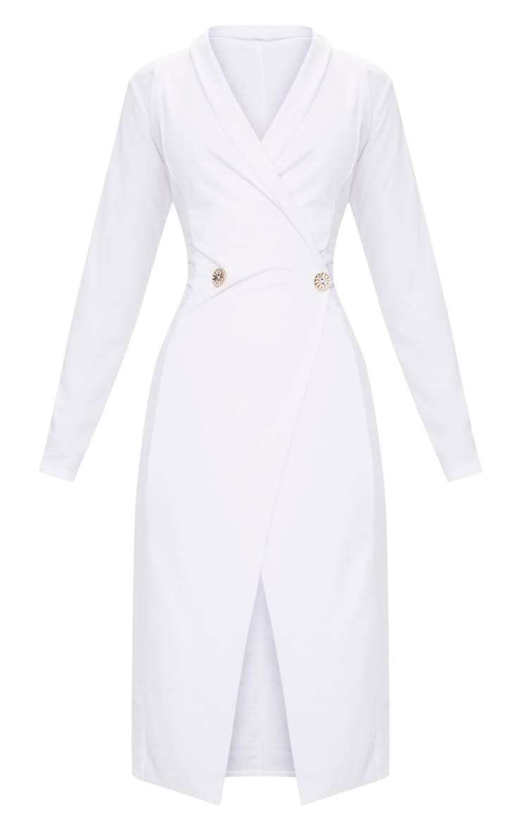 White Button Detail Blazer Midi Dress 3