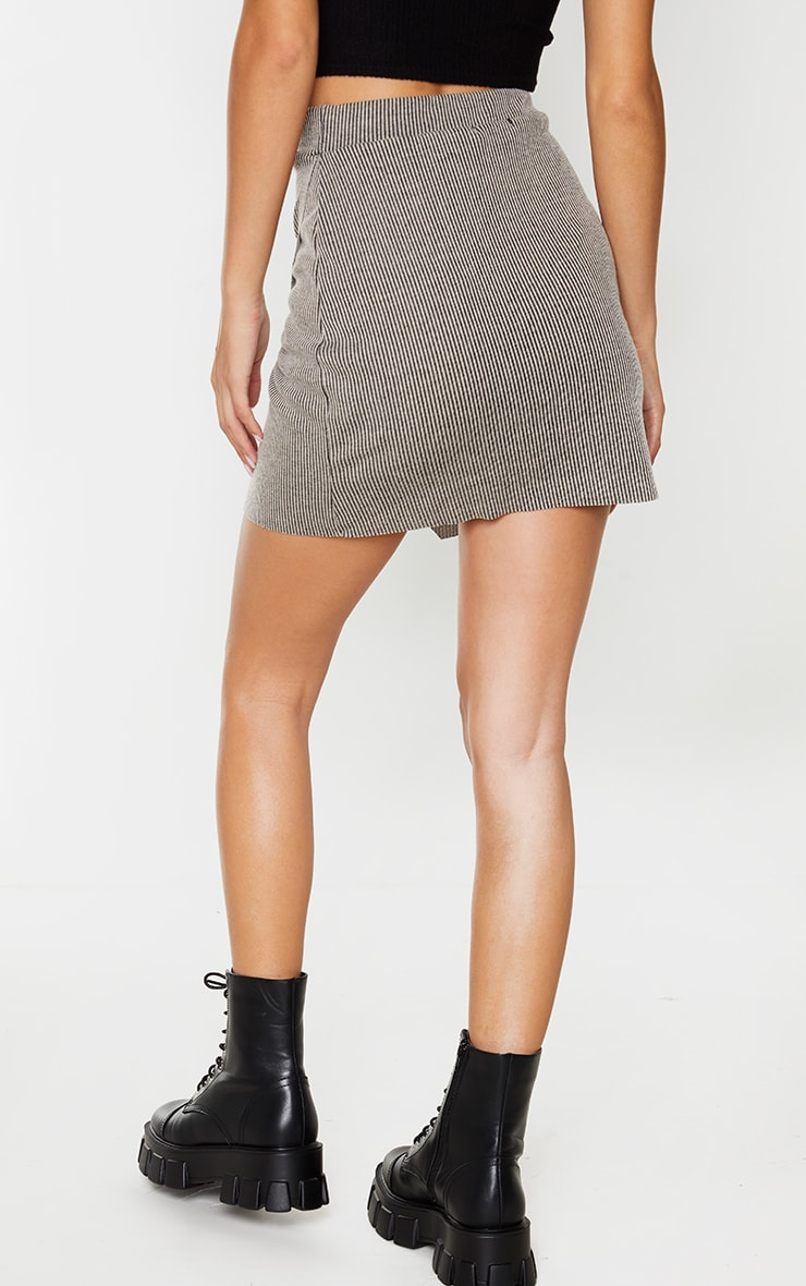 Stone Contrast Rib Wrap Mini Skirt 3