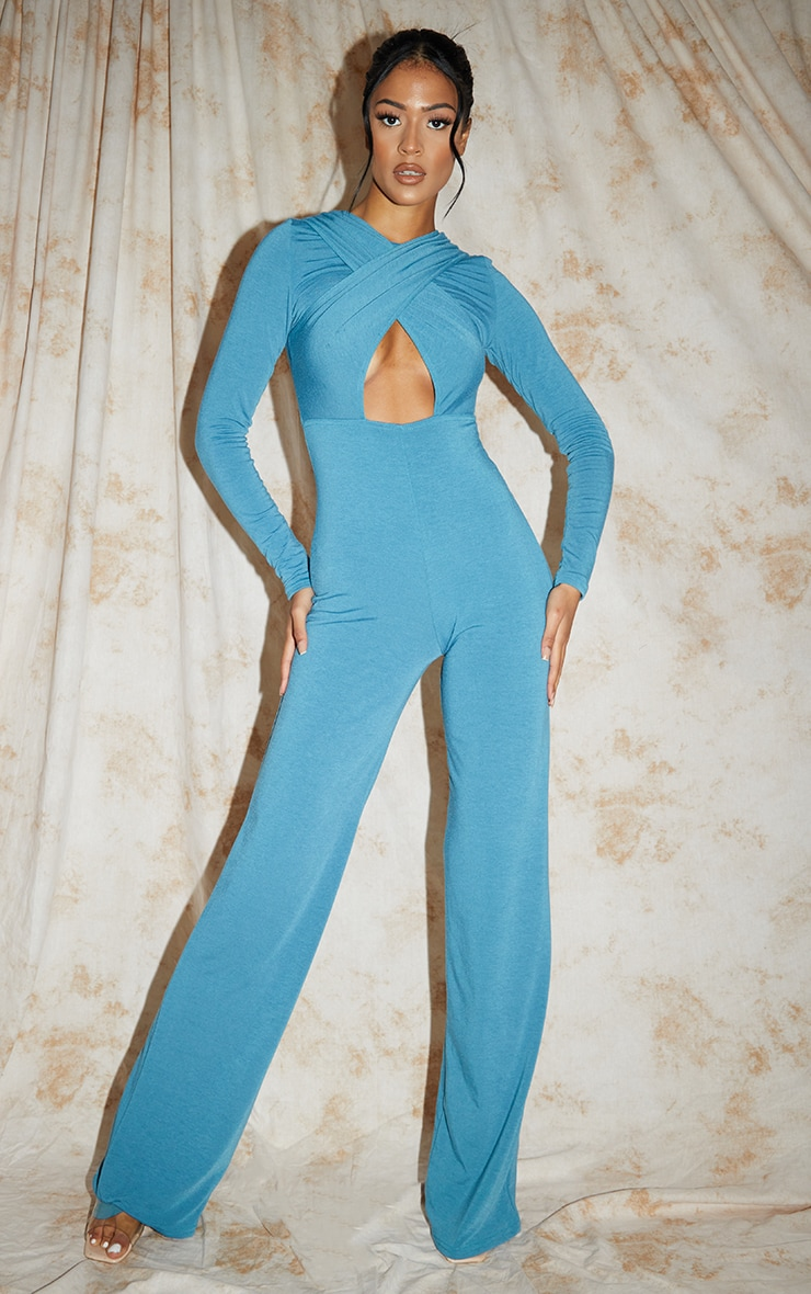 Recycled Tall Blue Contour Jersey Under Bust Wide Leg Jumpsuit 1