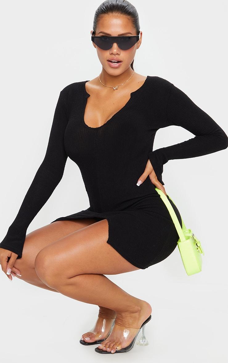 Shape Black Brushed Rib Split Sleeve Bodycon Dress 3