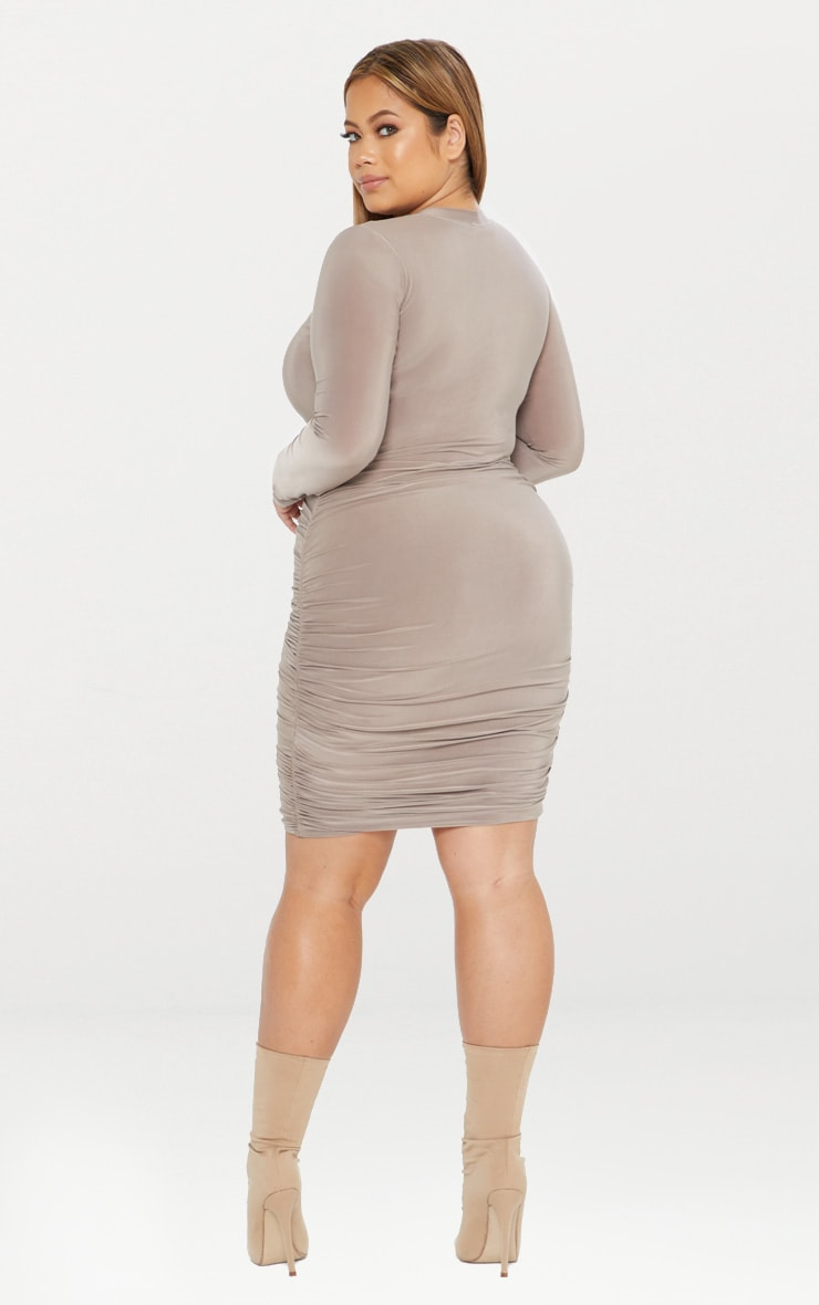 Plus Second Skin Taupe Long Sleeve Ruched Contrast Stitch Midi Dress 4