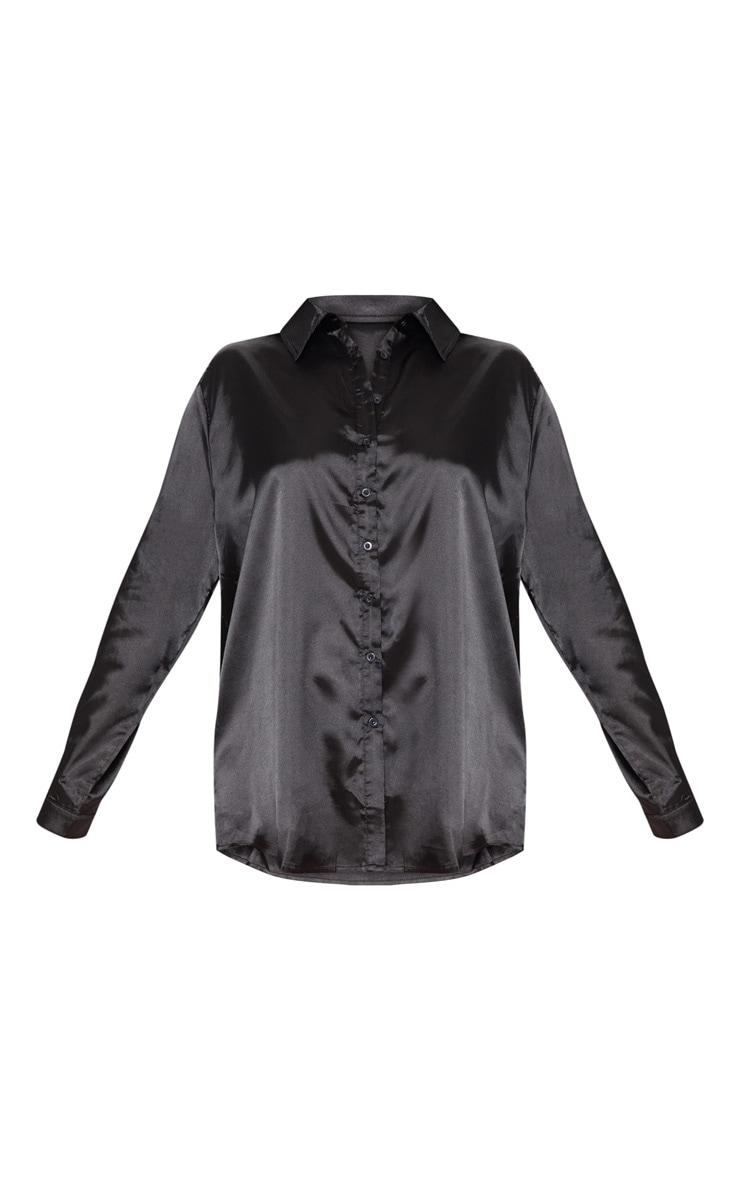 Plus Black Satin Button Front Shirt 3