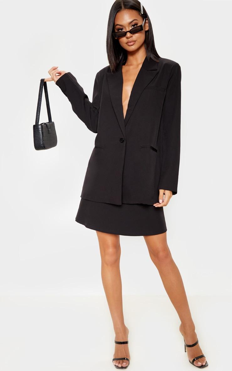 Black Woven A Line Mini Skirt 5