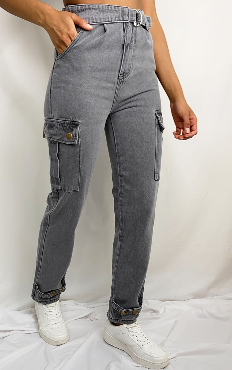 Washed Grey Cargo Pocket Asymmetric Belt Boyfriend Jeans 2