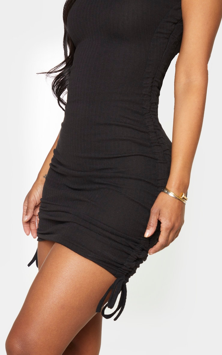 Shape Black Thick Rib Ruched Side Sleeveless Bodycon Dress 4