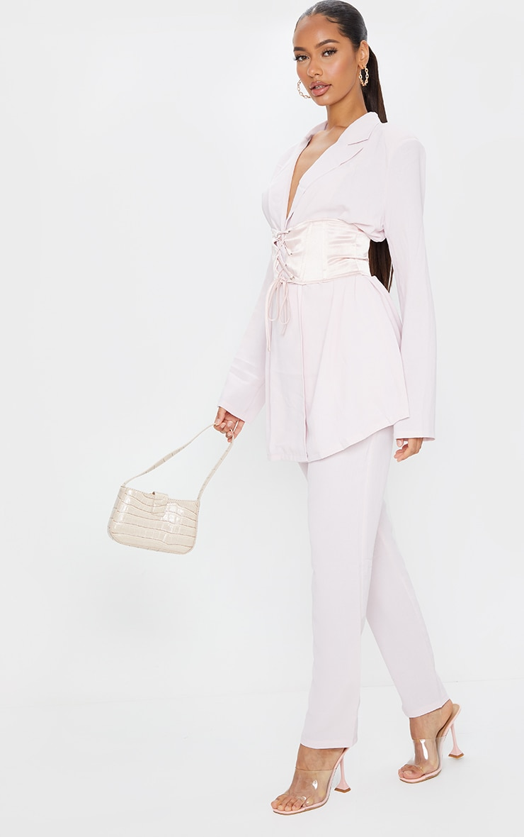 Light Pink Woven Lightweight Oversized Satin Tie Belt Blazer 3