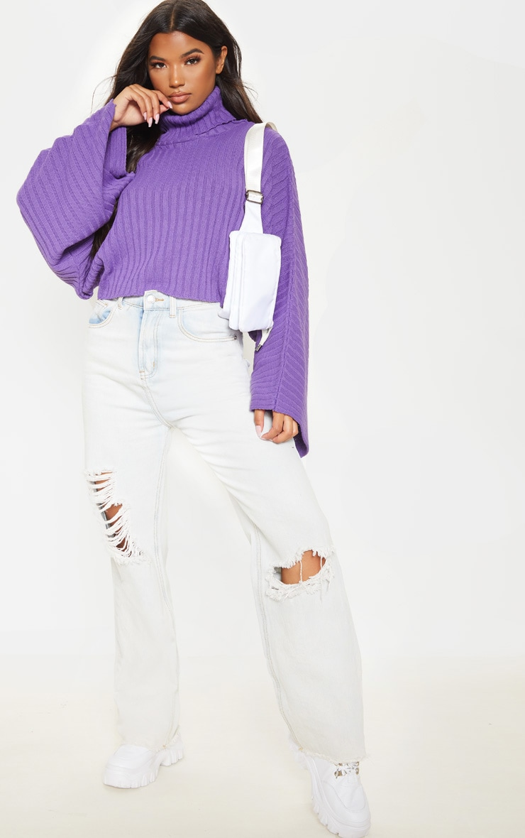 Purple Ribbed Knit High Neck Jumper  1