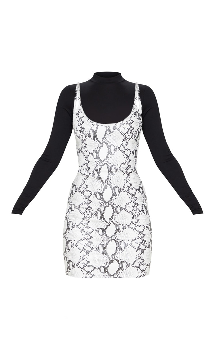 White Snake Print Faux Leather 2In1 Strappy Bodycon Dress 6