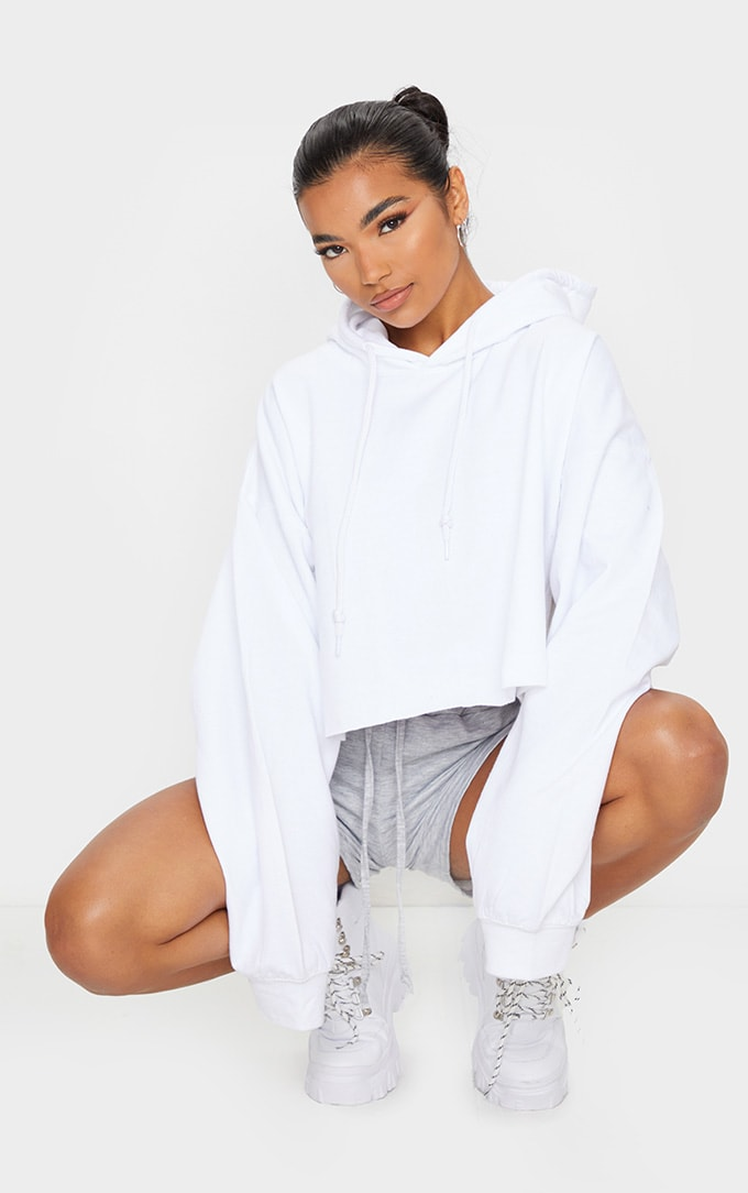 Recycled White Oversized Crop Sweat Hoodie 1