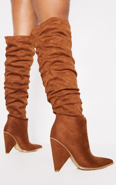 Tan Cone Heel Slouch Knee Boot