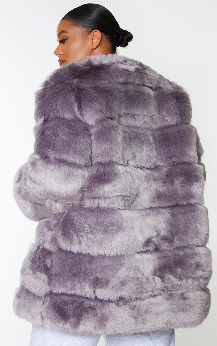 Plus Grey Faux Fur Bubble Coat 2