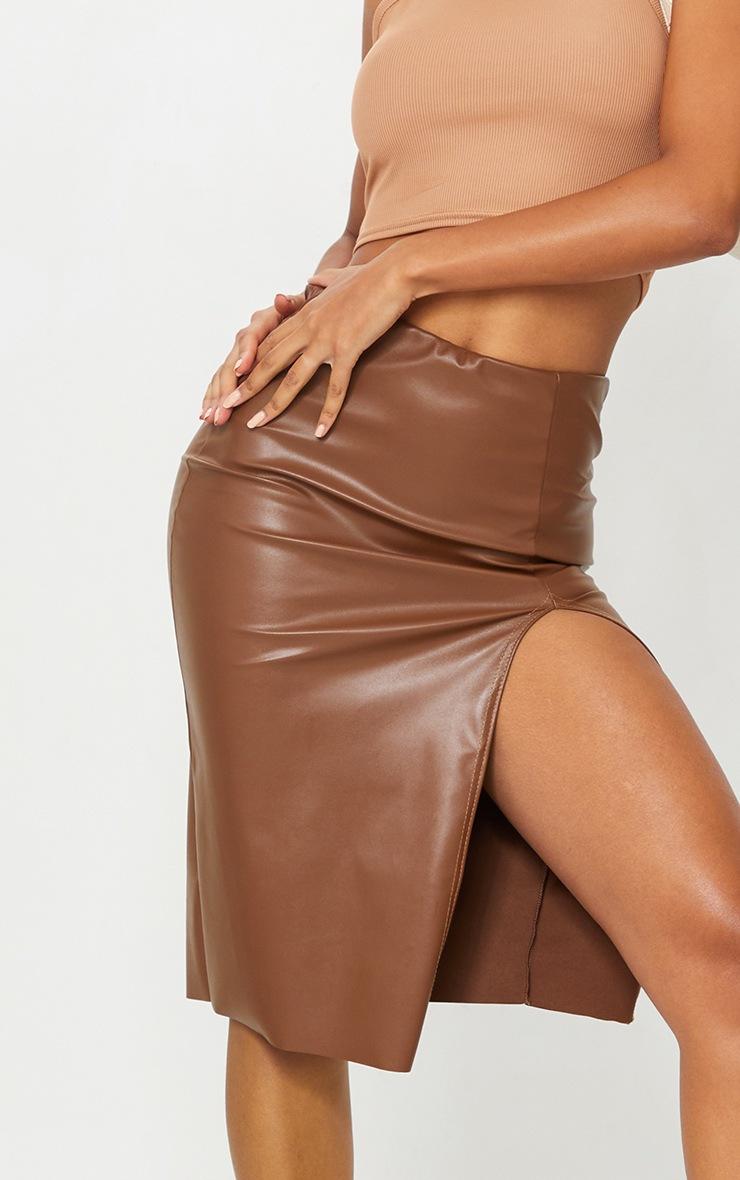 Camel Faux Leather Split Detail Midi Skirt 4