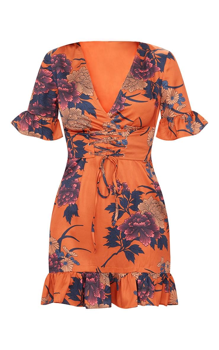 Orange Floral Corset Swing Dress 3