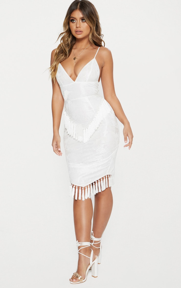 White Lace Tassel Trim Plunge Midi Dress 4