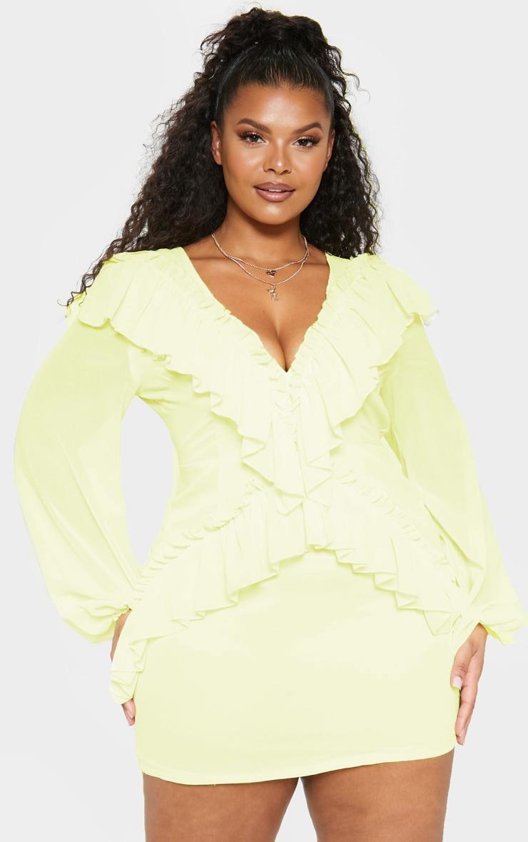 Plus Lemon Chiffon Frill Detail Bodycon Dress 1