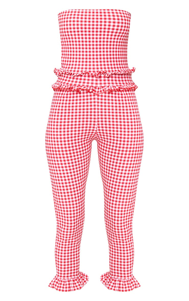 Red Gingham Frill Hem Bandeau Jumpsuit 3