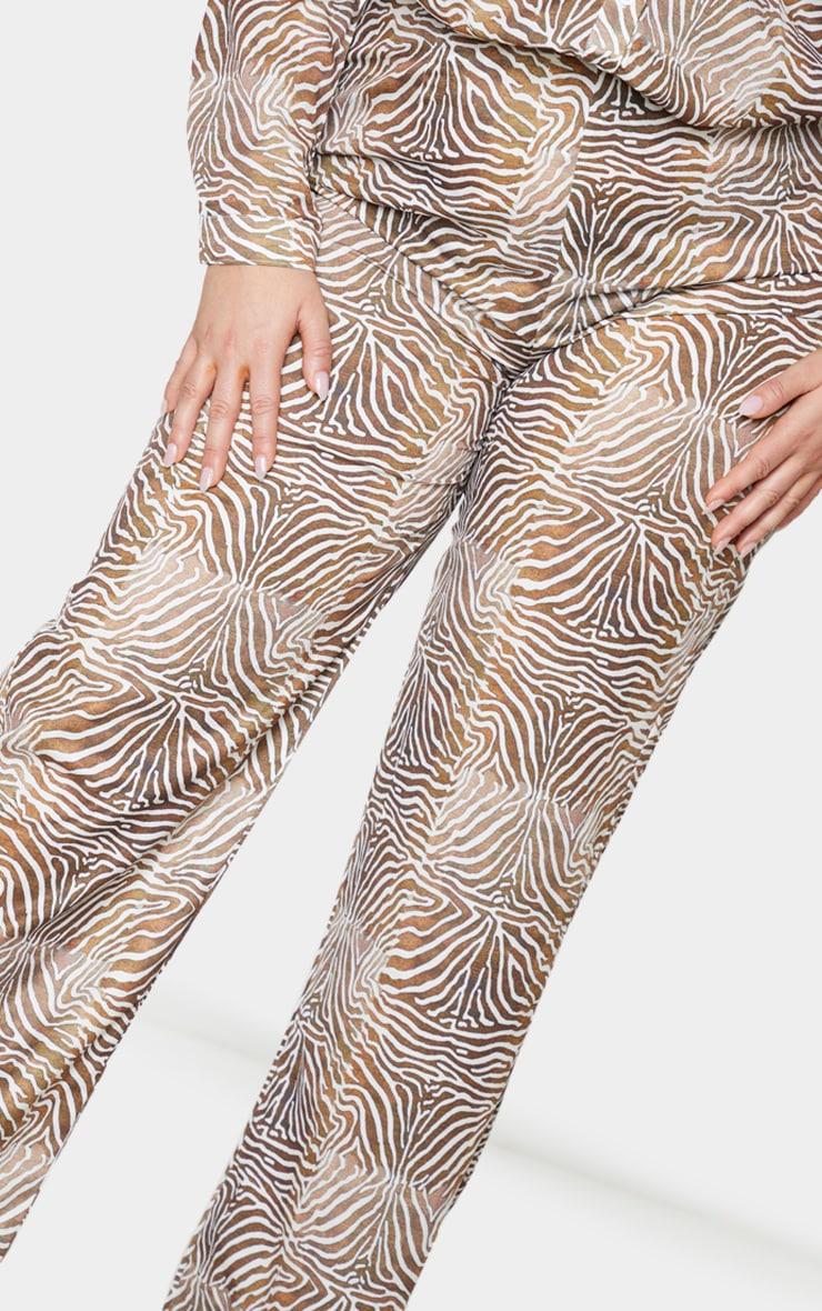 Plus Brown Zebra Printed Chiffon Wide Leg Pants 4
