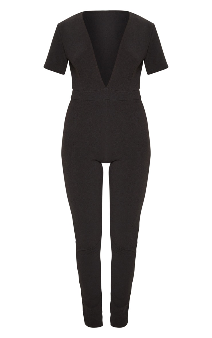 Black Short Sleeve Plunge Jumpsuit 3