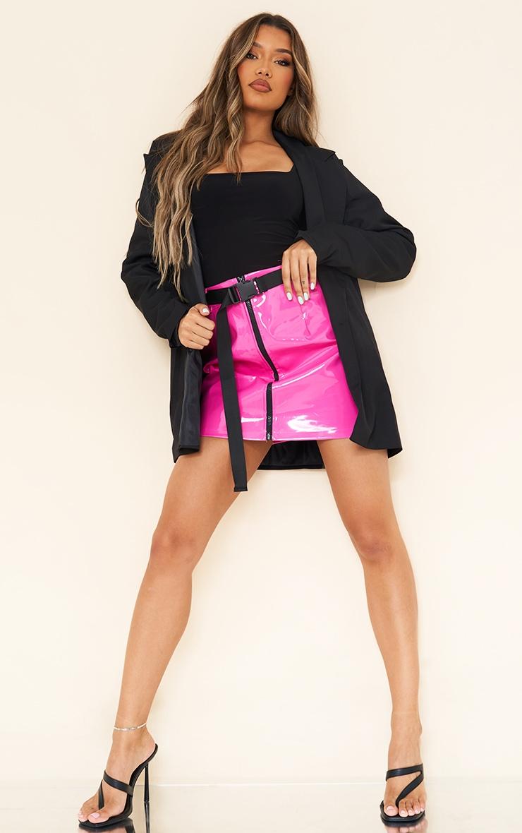 Neon Pink Vinyl Zip Front Belted Mini Skirt 1