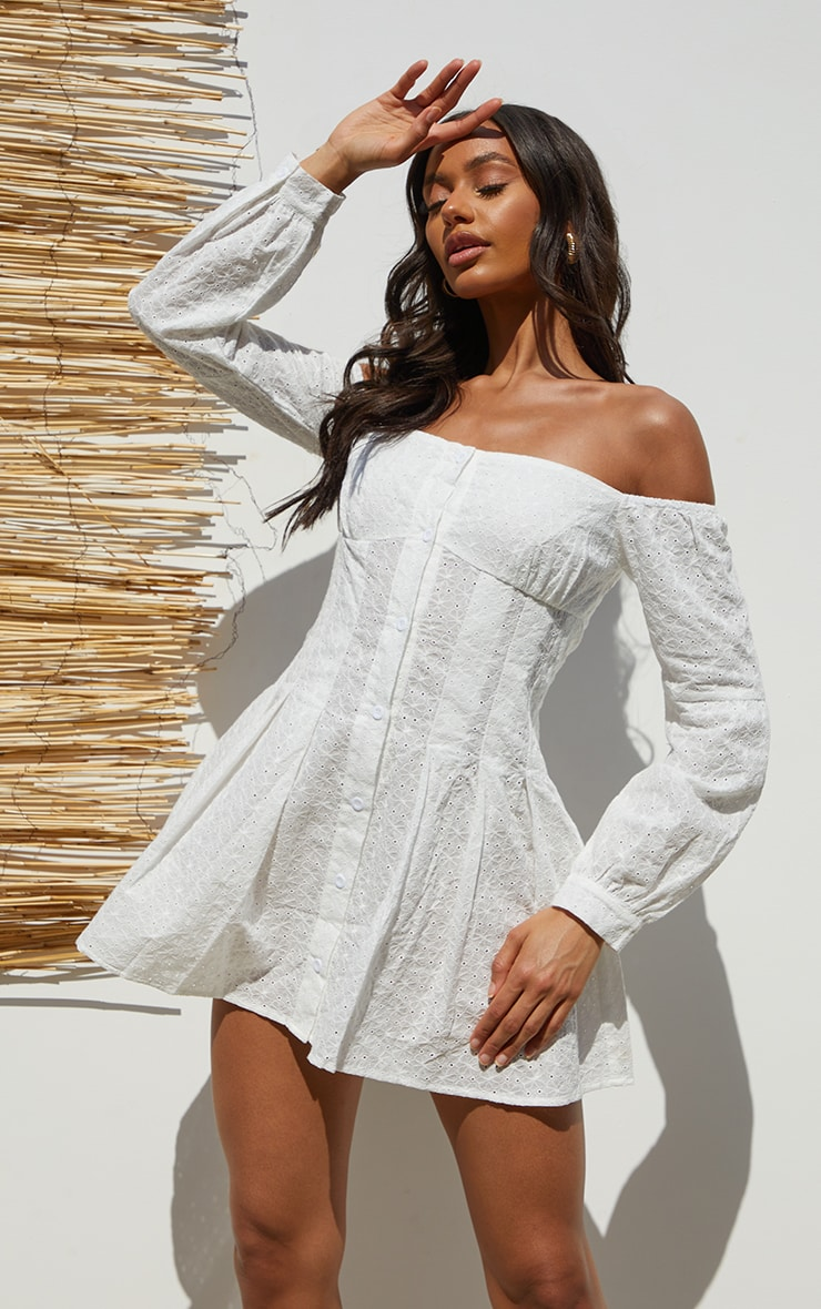 White Broderie Anglaise Pleated Bardot Shift Dress 1