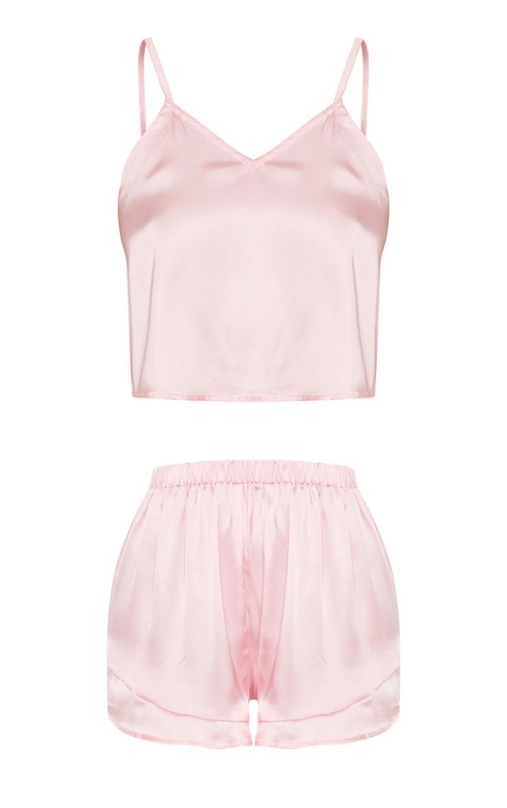 Pink Satin Frill Cami Short PJ Set 3