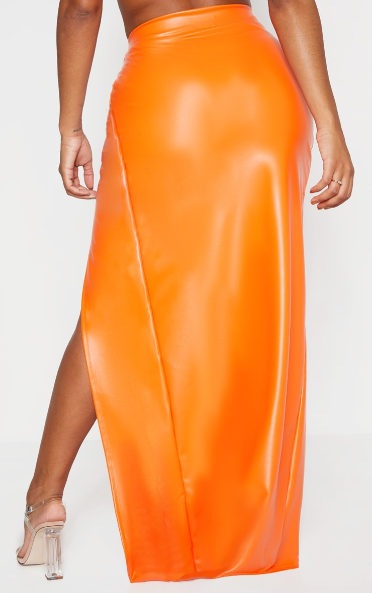 Shape Orange PU Split Front Maxi Skirt  4