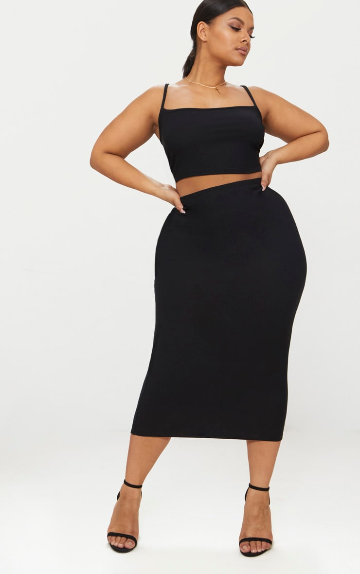 Plus Black Strappy Crop Top 5