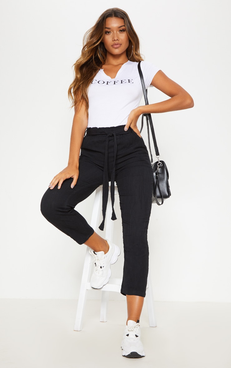Black Paperbag Linen Feel Tie Waist Detail Pants 1