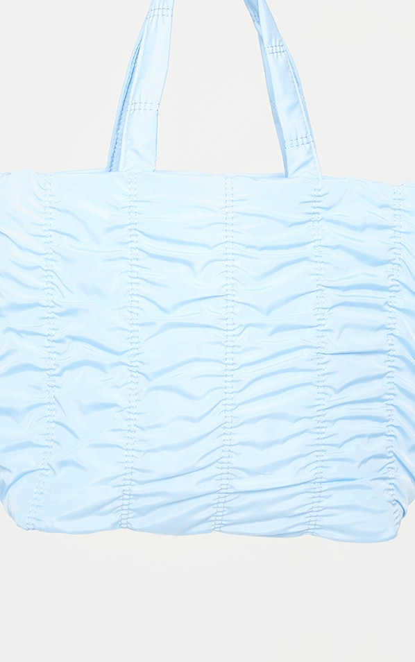 Baby Blue Ruched Tote Bag 2