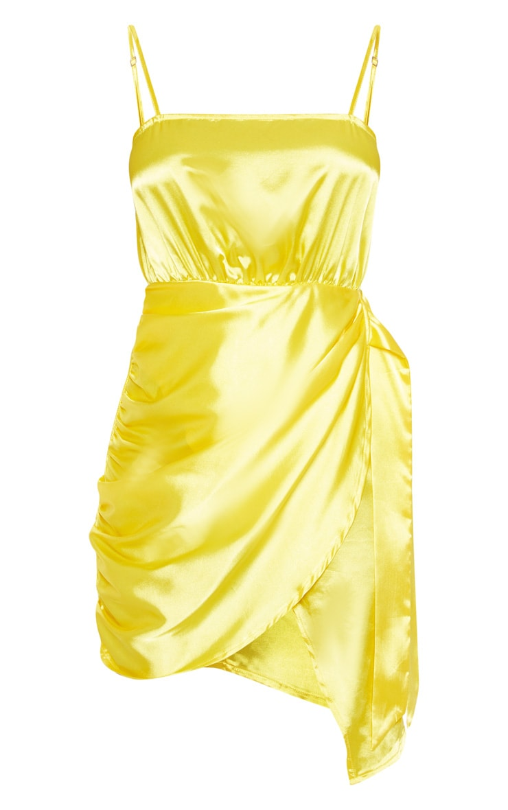 Bright Yellow Tie Front Cami Bodycon Dress 3
