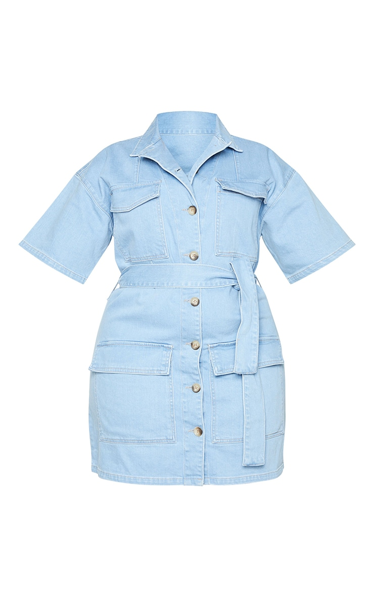 Plus Light Wash Denim Tie Waist Button Up Dress 5