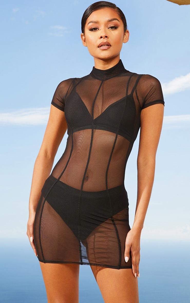 Black Second Skin Sheer Mesh Bodycon Dress 4