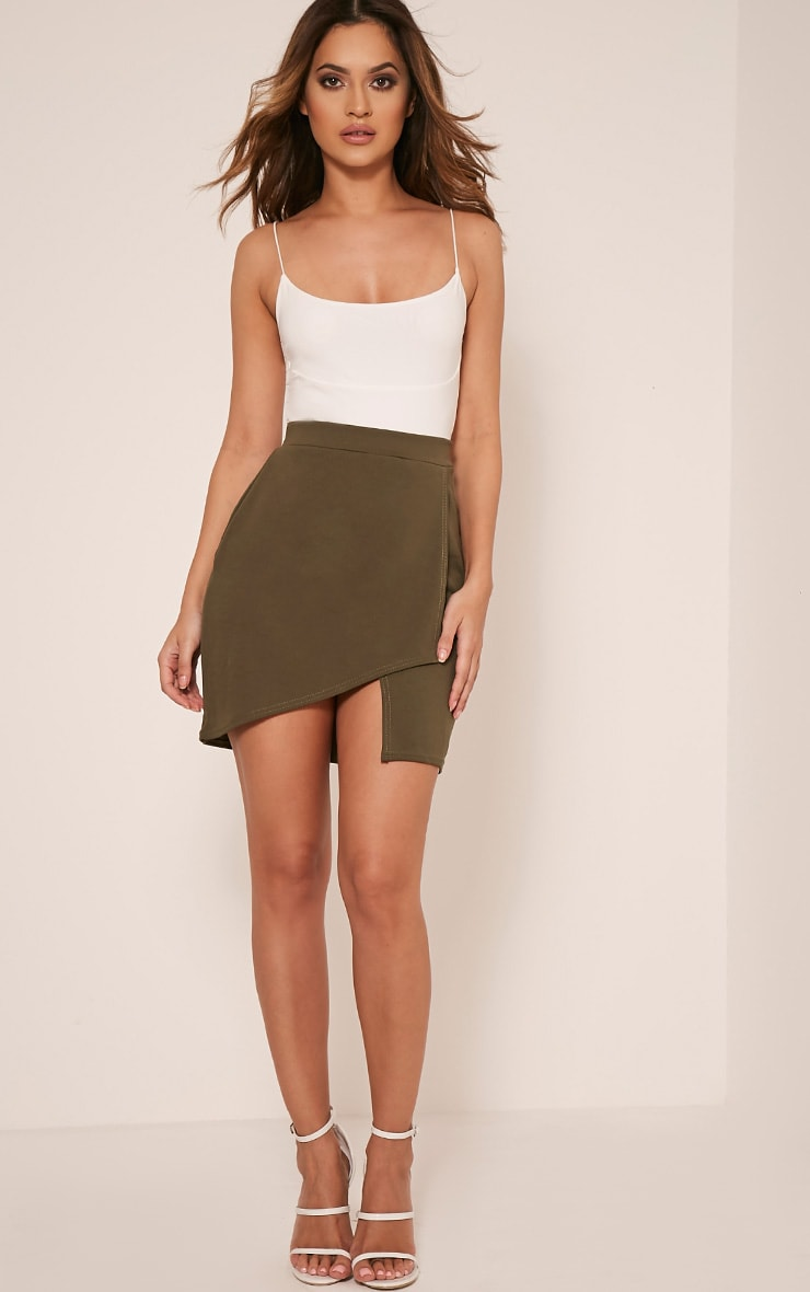 Marcella Khaki Asymmetric Wrap Mini Skirt 6