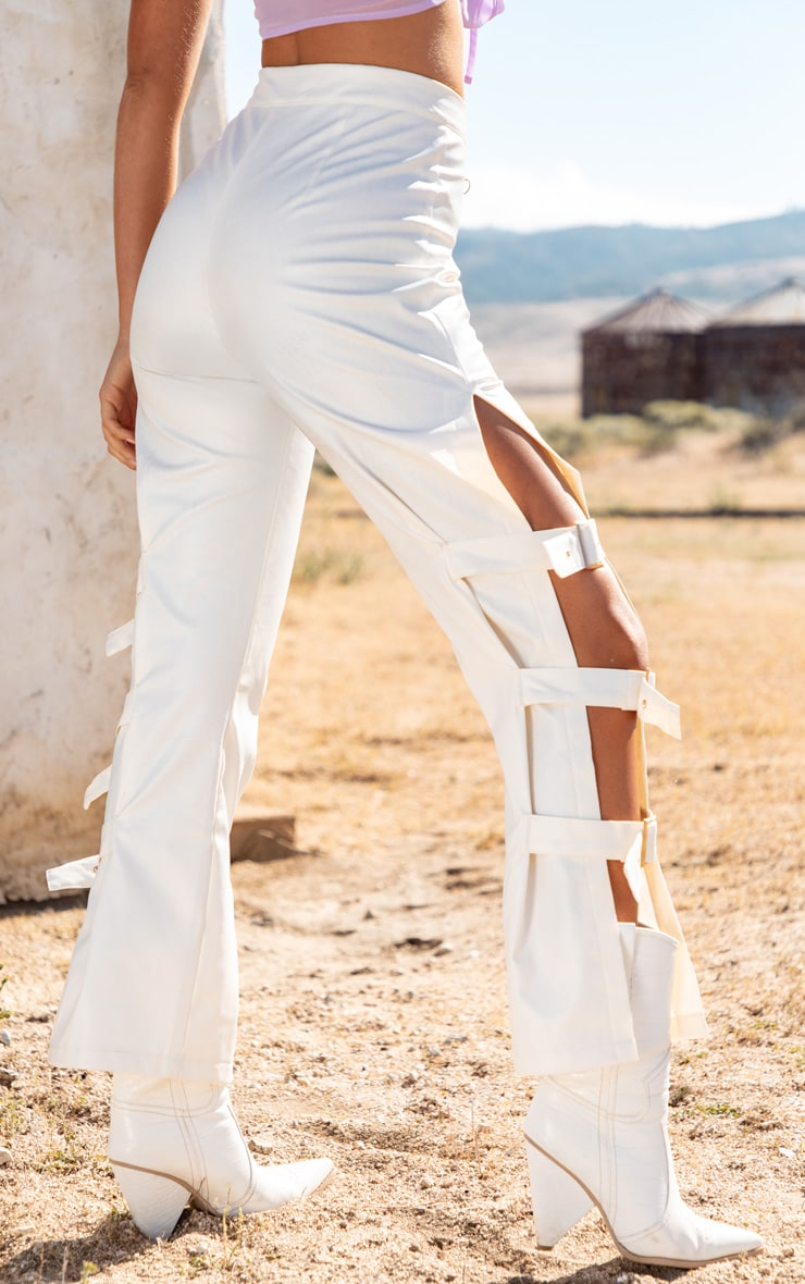 White Faux Leather Buckle Strap Detail Pants 4