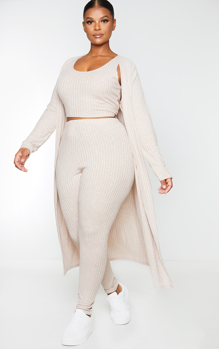 Plus Oatmeal Knitted 3 Piece Legging Set 1