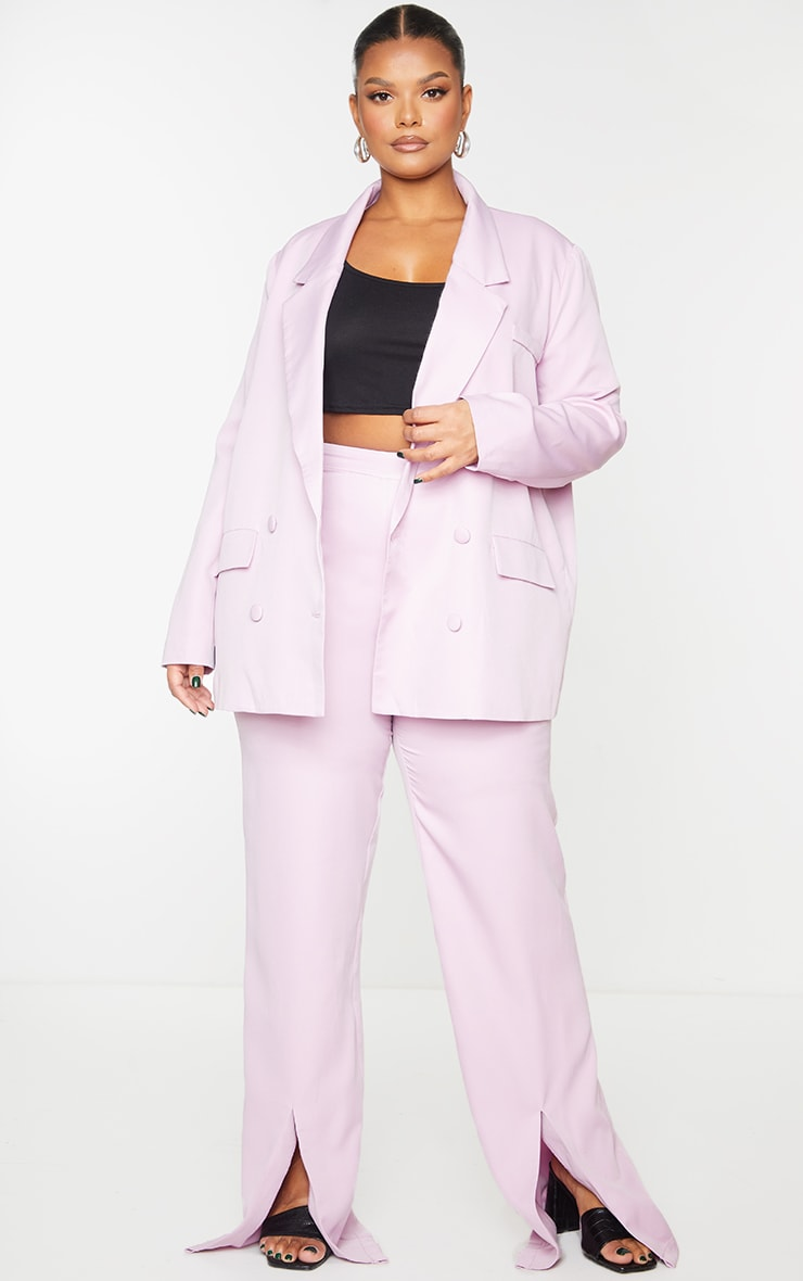 PRETTYLITTLETHING Plus Lilac Double Breasted Blazer 3
