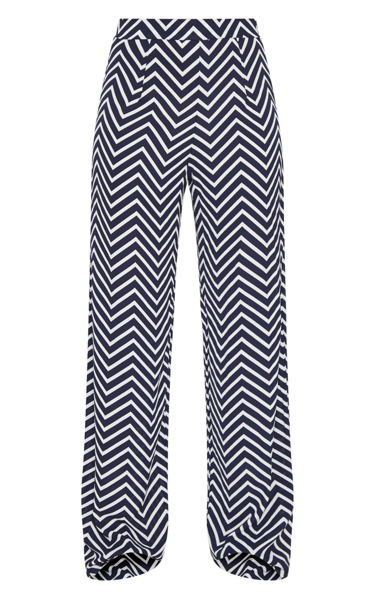 Navy Crepe Chevron Print Wide Leg Trouser 3
