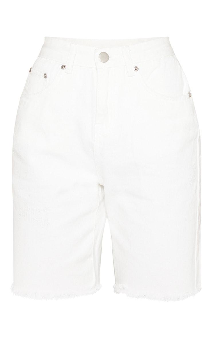 White Denim Cycle Shorts 3