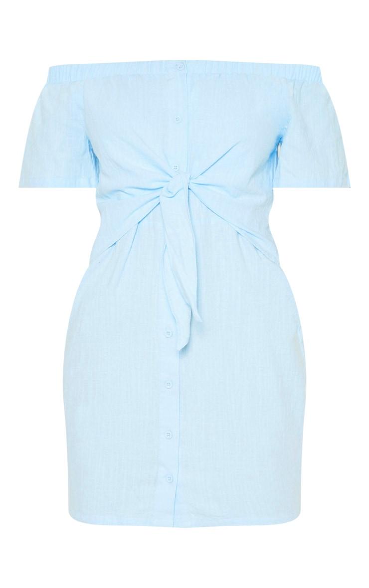 Baby Blue Tie Front Bardot Woven Bodycon Dress 3