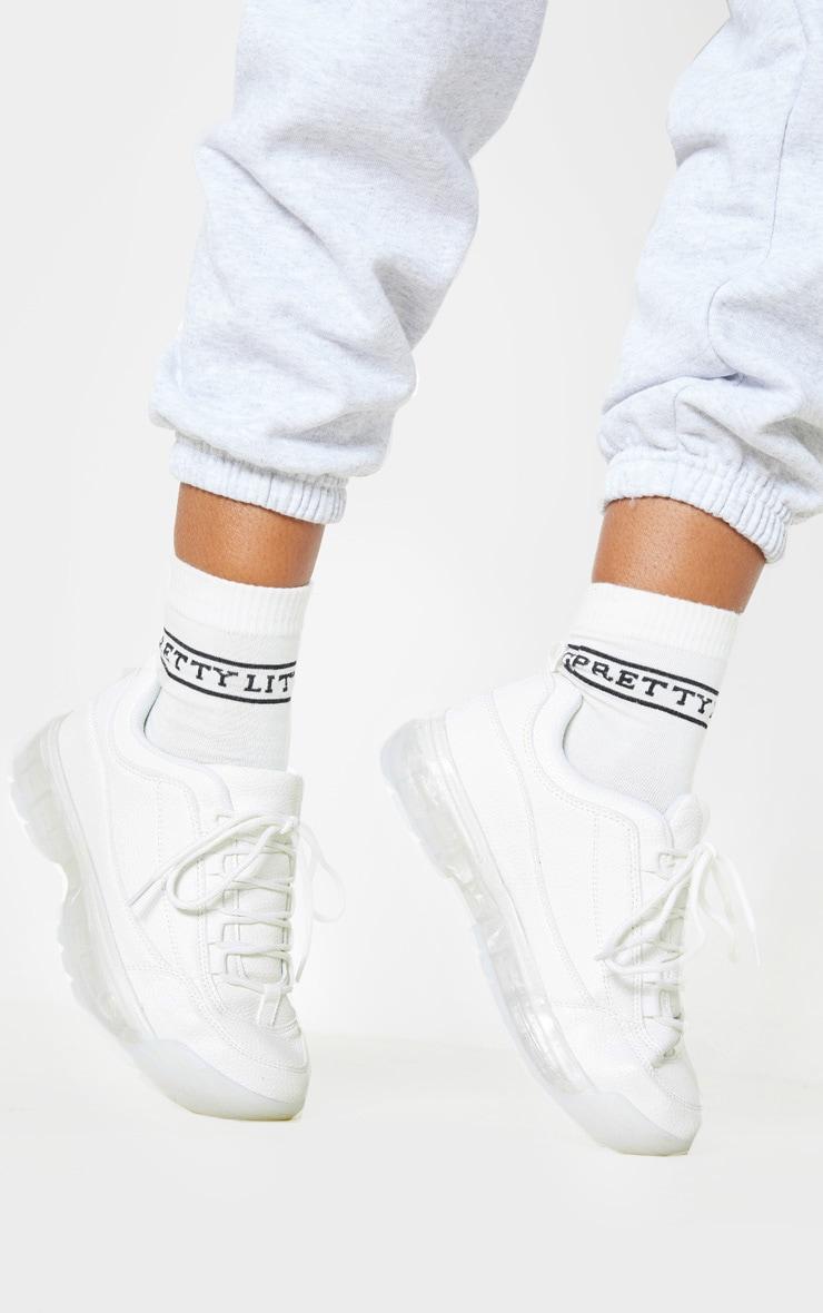White Bubble Sole Sneakers 2