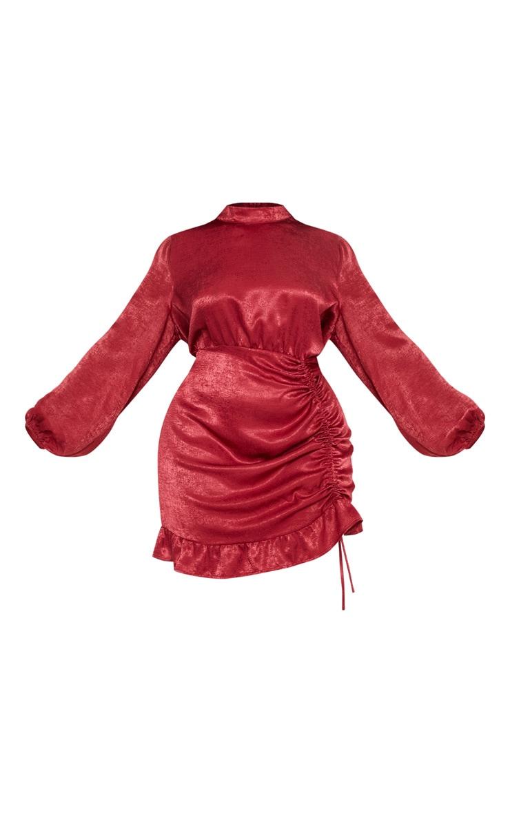 Plus Brick Satin High Neck Ruched Bodycon Dress 3
