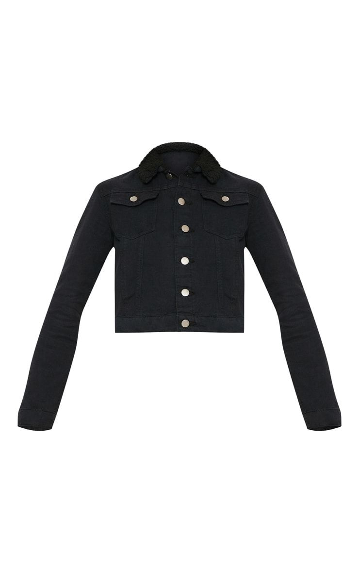 Black Borg Collar Cropped Denim Jacket 3