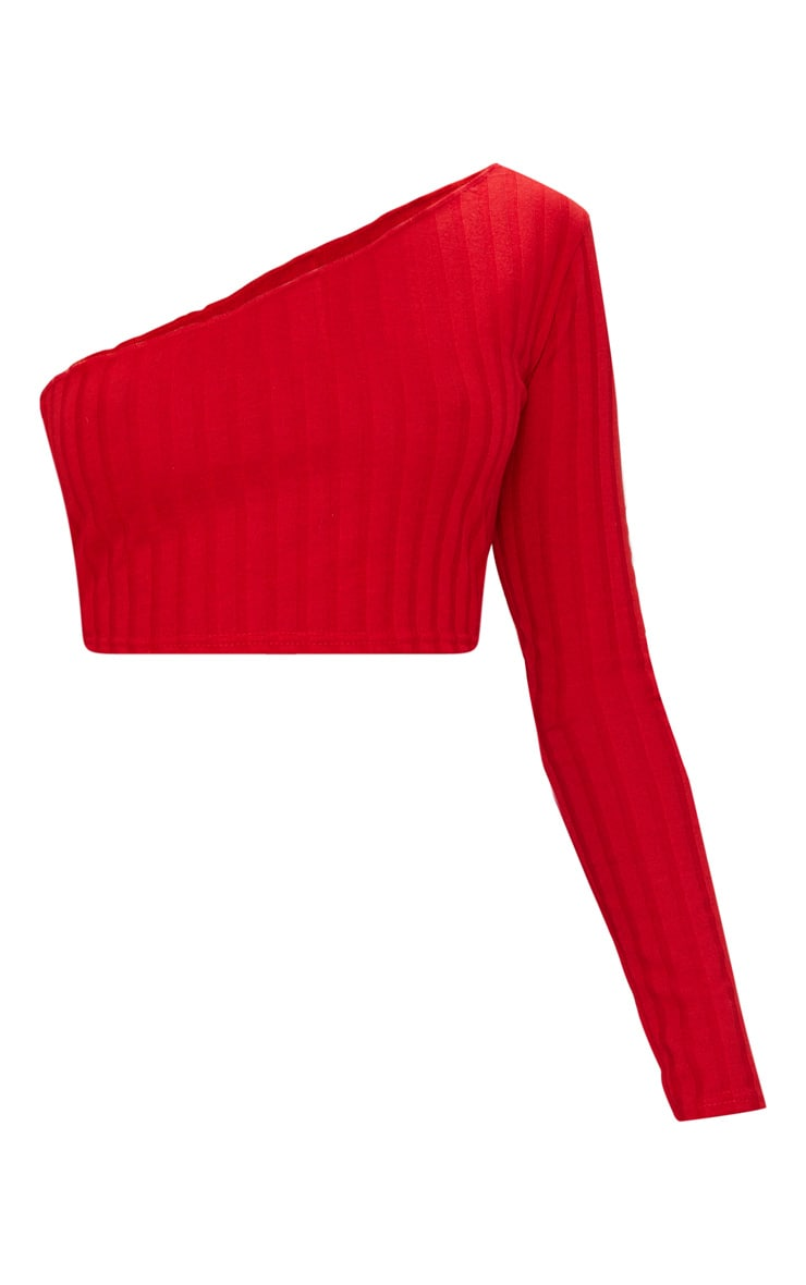 Red Rib Knit Long Sleeve Asymmetric Top 3