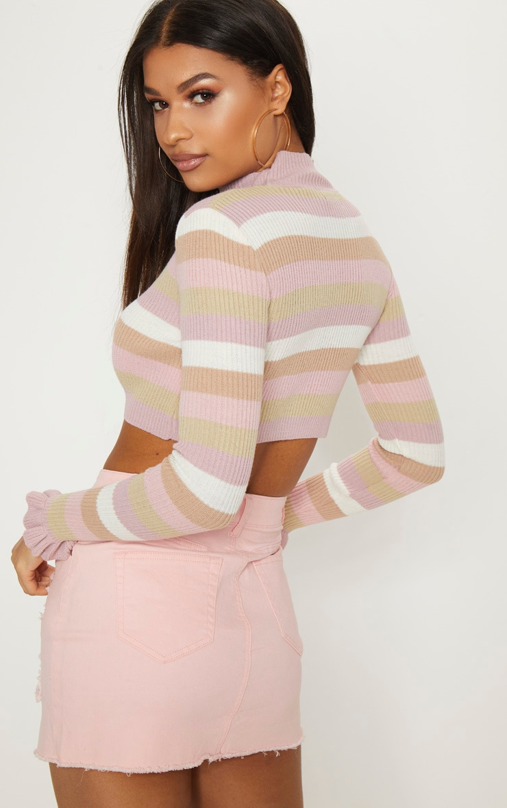 Nude Stripe Ribbed Cropped Jumper 2