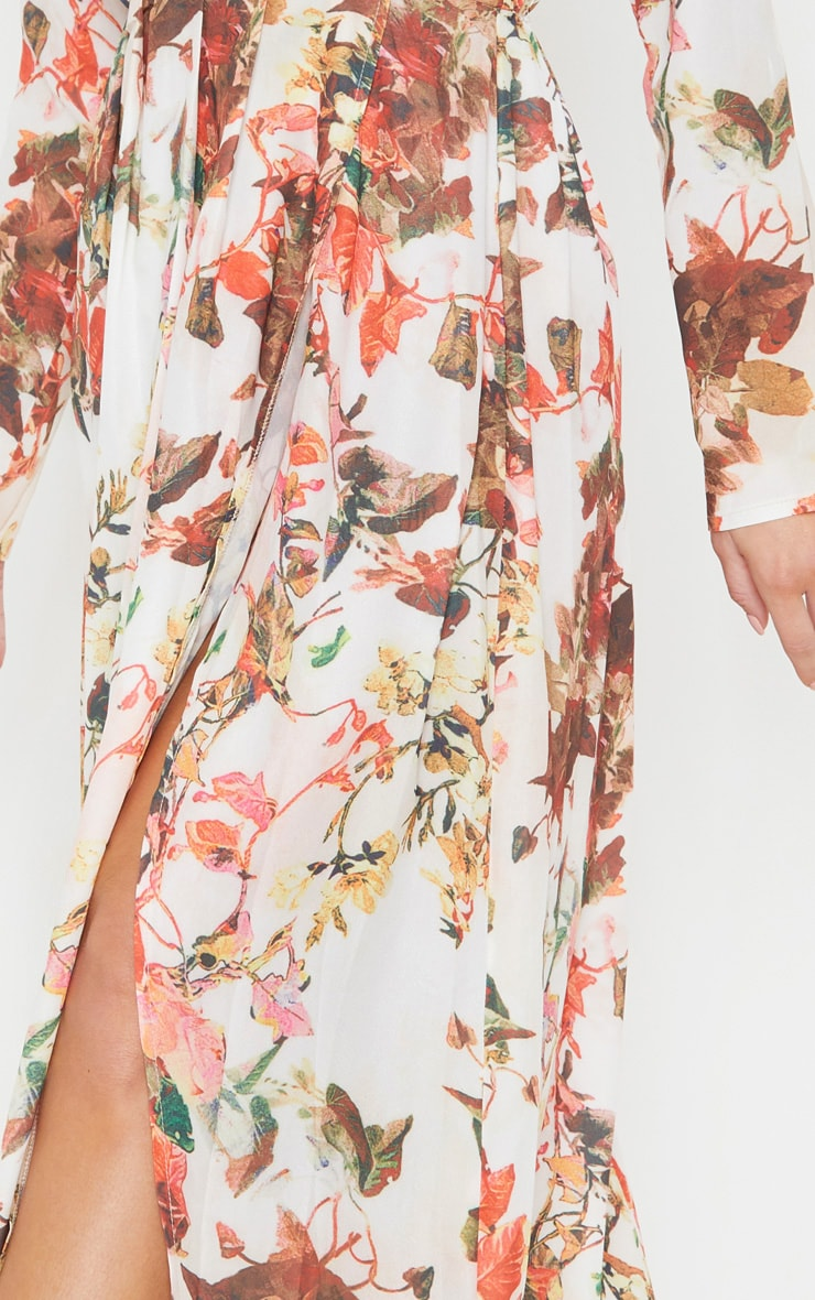 Floral Print Plunge Long Sleeve Maxi Dress 5