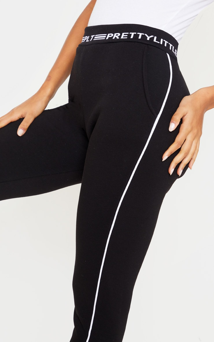 PRETTYLITTLETHING Black Contrast Piping Cuff Joggers 5