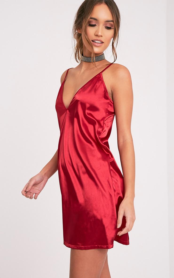 Erin Red Plunge Satin Slip Dress 4