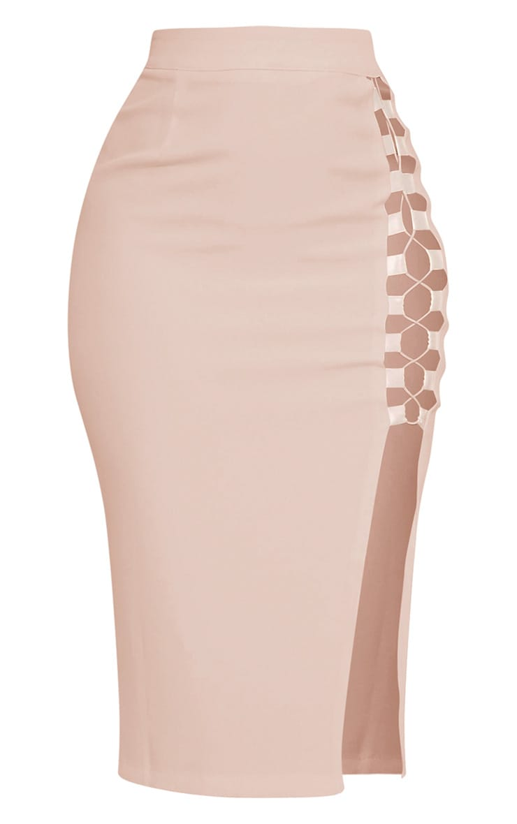 Janelle Nude Lace Up Midi Skirt 2