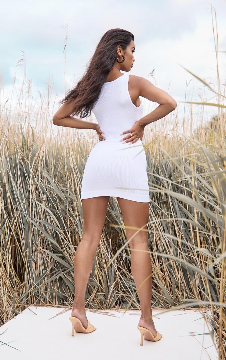 White Structured Contour Rib Sleeveless Bodycon Dress 2