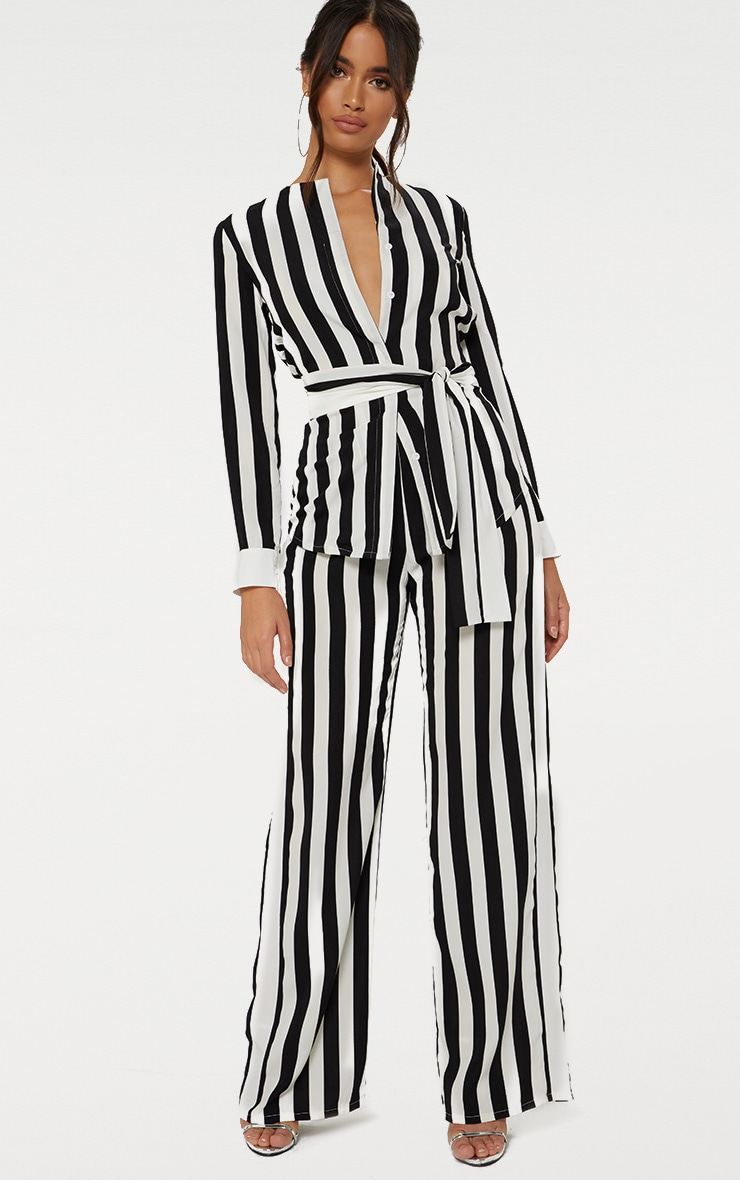 Monochrome Humbug Stripe Wide Leg Trousers  1